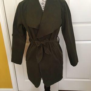 Olive Wrap Tie Waist Coat